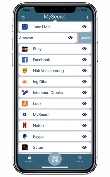 Online Shop Passwörter & Kundenkarten in MySecret